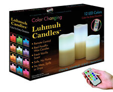NEW 3 PCS REMOTE CONTROL 12 COLORS CHANGING REAL WAX SCENTED LUHMUH LOVE CANDLES