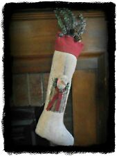 Primitive `Stuffed `Christmas Stocking with Grubby Snowman`Greens` Christmas`