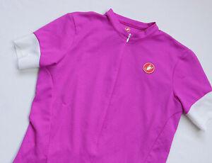 Castelli womens Cycling 3/4 zip jersey t shirt Short Sleeve top size Medium Pink