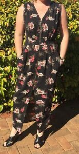Harley Black & Floral Maxi Dress with Front Zip & Pockets