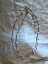 """Park Lane """"Shannel"""" Necklace Silver Tone W/ Glass Beads 61"""" Inch Chain Euc"""