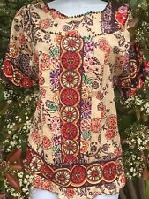 Peasant Boho Printed Cotton Beaded Top Shirt_Size L_New_Beautiful!