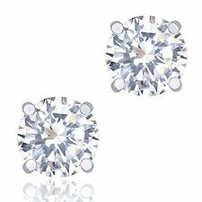 Orrous & Co 18k White Gold Plated Cubic Zirconia Round  Solitaire Stud Earrings