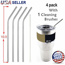 "10.5"" Long Reusable Straws Stainless Steel Drinking Metal for 30oz Tumbler Glass"
