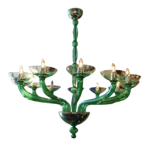 Mazzega Murano - Green Chandelier by Mazzega