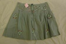 NEW WOMEN'S AZIZ RUFFLE PEASANT SKIRT SIZE SMALL GREEN W/GOLD BEADED & SEQUINS