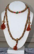 "Big Tibetan Turquoise Coral 108 Yak Bone Prayer Beads 3 Tassel Mala Necklace 30"""