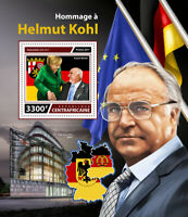 Central African Rep Famous People Stamps 2017 MNH Helmut Kohl Merkel 1v S/S
