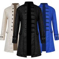 Halloween Steampunk Retro Trench Coat Gothic Jacket Medieval Men Costume S-4XL
