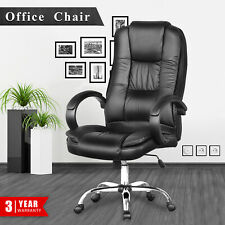 Adjustable Executive Office Chair High Back Swivel Computer Chairs PU Seat Black