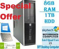 Fast HP Elite 8200 SFF Intel Core i5 8GB RAM 1TB HDD Windows 10 Desktop PC WiFi