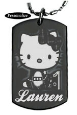 HELLO KITTY Personalized - Dog tag Necklace or Key chain with FREE ENGRAVING