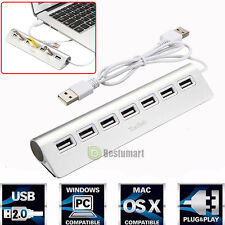 7 Port Aluminum USB 2.0 HUB 5Gbps High Speed AC Power Adapter For PC Laptop Mac