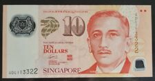 Singapore $10 Polymer Potrait Banknote With Doubles Number 4DL 113322
