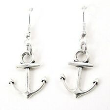 925 Sterling Silver Hooks Silver Alloy Dangle Sailor Boat Anchor Earrings