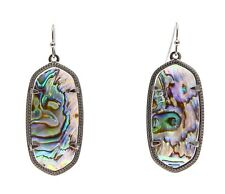 Kendra Scott Elle Silver Drop Earrings Abalone Shell 0494