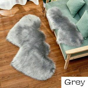 Imitation Wool Carpet Double Heart Fluffy Plush Rugs Blanket Mat Home Decor Cosy