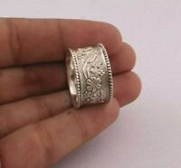 925 Sterling Silver Wide Band Ring Handmade Ring Statement Ring Jewelry- QS5088