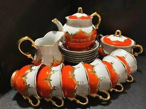 Vintage Soviet Porcelain Tea Set Bud red golden gift for mum NATURAL GOLD USSR