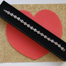 """Beautiful Bracelet 18K White Gold Plated With Kunsite 11 Gr. 7"""" Inc Long In Box"""
