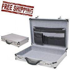 Aluminum Laptop Briefcase Silver Business Locks Attache Pockets Combination Hard