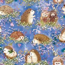 Paintbrush Studio Hedgehog Village 120 13742 Blue Hedgehog COTTON FABRIC  BTY