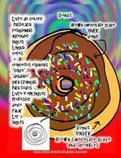 Livro de Colorir Pastelaria Rosquinhas Aprender Inglês língua Cores +...