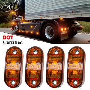 Orange Amber LED Side Marker Indicator Lights Truck Lorry Van E-Mark 10-30V 4Pcs