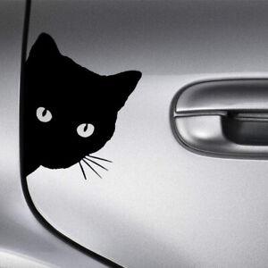 1x Cat Face Peering Funny Car Decal Window Auto Bumper Accessories Sticker Black