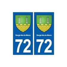 72 Sargé-lès-le-Mans blason autocollant plaque stickers ville -  Angles : droits