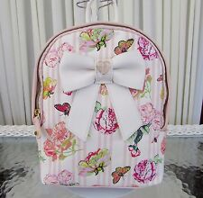 Betsey Johnson Bow Nanza Floral Stripe Backpack Small Blush Bag NWT