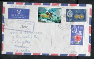 FIJI ISLANDS COVER (PP0806B) 1968 QEII DIVING 9D+1/6+9D FLOWER REG A/M TO CANADA