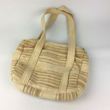 "VTG 80s 90s Cream Beige 19"" Linen Cotton Lined Hand Bag Purse India Boho Summer"