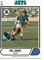 1976 COL CASEY NEWTOWN JETS SCANLENS RUGBY LEAGUE CARD #29