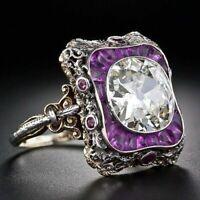 Women Vintage Turkish Handmade Jewelry Antique Sapphire Ladies Ring Silver White
