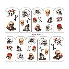 Nail Art Sticker Water Decals Transfer Stickers Halloween Skull Pirates (BOP77)