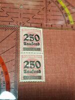 Briefmarke Deutsche reich uberstempelt 250 tausend auf 500 Mark Inflationsmarke