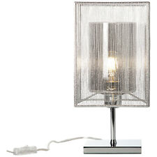 Table Lamp Light Side Reading Light Lighting Cage Silver Glass Textile New