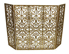 "Fireplace Screens - ""Brompton Manor"" Fireplace Screen - Mesh Back - Italian Gold"