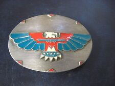 "1992 Siskiyou Buckle Co. 3 1/4"" Native American Eagle Design Pewter Belt Buckle"