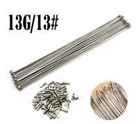 10PCS 13G/13# 2.2mm Stainless Steel Bike Bicycle Spoke Spokes + Nipples 88~305mm