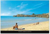 CARTOLINA SICILIA PUNTA BRACCETTO SANTA CROCE SPIAGGIA MARE SICILY POSTCARD