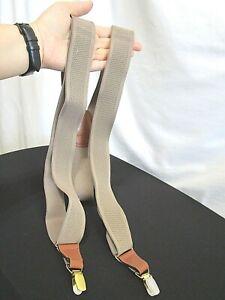 Khaki Beige Elastic & Brown Leather Y Back Gold Clip On Suspenders