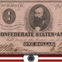 T-62 1863 $1 Confederate Currency * CIVIL WAR PAPER MONEY*   19984