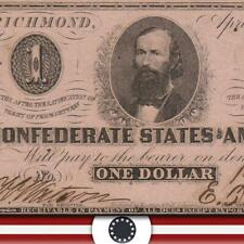 T-62 1863 $1 Confederate Currency * Civil War Paper Money* 19984
