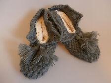 NEXT Hausschuhe Slipper Pantoffeln aus Strick gefüttert grau warm 40 41 42 NEU