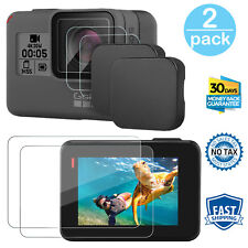 GoPro Hero 6 5 Screen Protector Tempered Glass Ultra Clear Lens Cap Cover 2 Pack