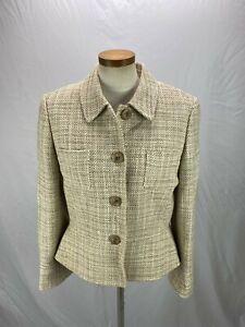 Tahari Women's Beige Wool Blend Blazer Jacket 12