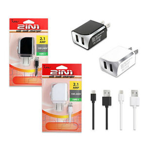 For LG V40 ThinQ Premium 2.1Amp USB TYPE-C/ USB-C Data Cable Wall Charger