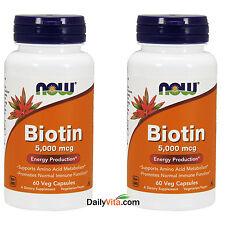 2 x NOW Foods Biotin 5000 mcg 60 VCap Skin Hair Health Made In USA FREE SHIP